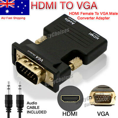 HDMI Female To VGA Male Converter Adapter 1080P Stereo Audio Output AU Stock