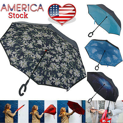 Folding Reverse Inverted Umbrella Double Layers Inside Out Upside Down C-Handle