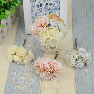 6pcs Mini Silk Artificial Rose Flowers Bouquet Wedding Decoration Paper Flower