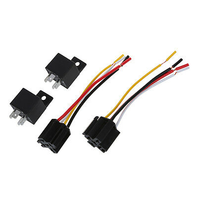 2 x Car Relay Automotive Relay 12V 40A 4 Pin Wire with 5 outlets NEW Q9G9