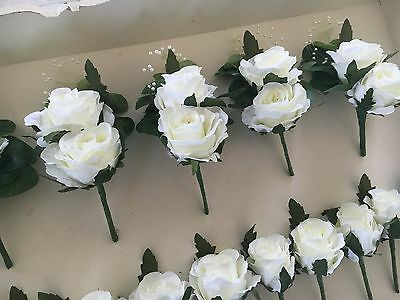 Artificial Vintage Wedding Luxury corsage X1 double Ivory Rose Pearl & Greenery