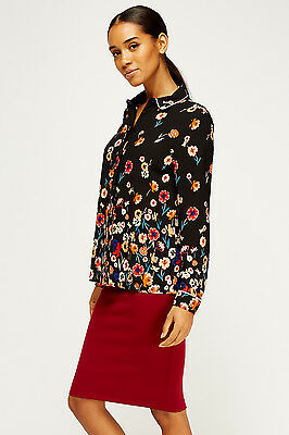 Womens Top Black Floral Button Collar Long Cuff Sleeves Blouse Shirt Plus Size