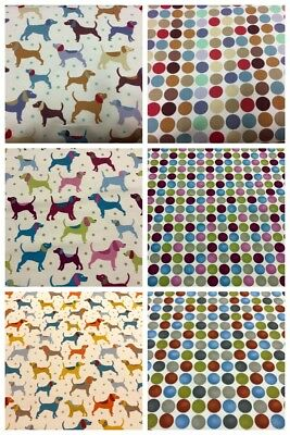 Dog Fabric Spots Upholstery Cushion Curtains 60ins wide 100% Cotton Duck Fabric