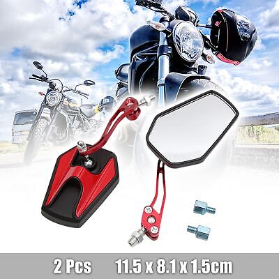 Pair Black Red Adjustable Hexagon Rear Side View Mirror for Motorcycle Motorbike