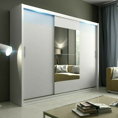 Wardrobe KOLA 01-250 Sliding Doors Mirror Hanging Rail Shelves Black White New