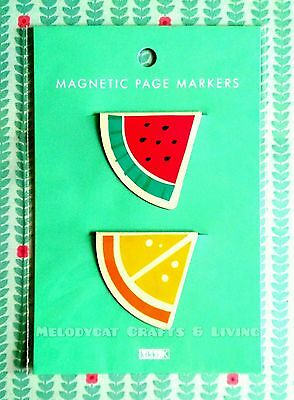 Cute Kikki.K Magnetic Page Marker Bookmark Planner Accessory 2pk - Fruit Wedges