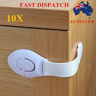 10x Adhesive Baby Child Kids Safety Lock For Door Drawer Cupboard Cabinet AU