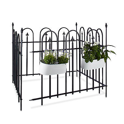 gartenzaun metall zaun set spalier metallzaun antik zierzaun dekozaun schwarz eur 124 90. Black Bedroom Furniture Sets. Home Design Ideas