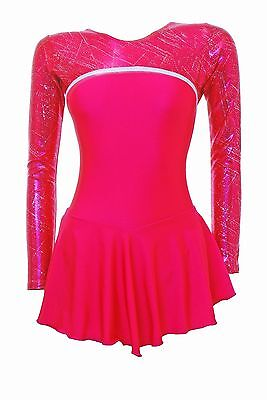 Skating Dress - Pomegranite lycra/ pom &silver hol skate/dance dress canberra