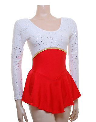 Skating Dress - White Gold Metalic/Red Lycra Canberra (S095b) *SALE PRICE*