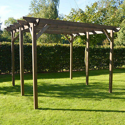 Large Wooden Garden Pergola - Rustic Brown - In Two Sizes - 6 Posts