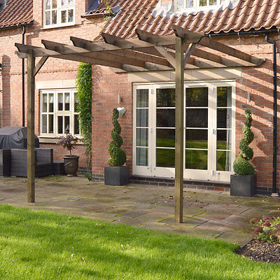 Lean To Pergola - Rustic Brown - Wooden Garden Structure