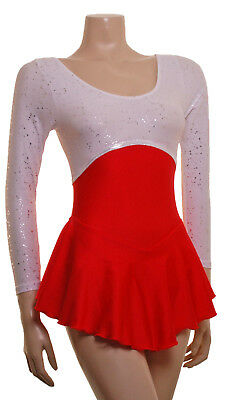 Skating Dress Silver Constellation/Red Lycra L/S ALL SIZES AVAILABLE
