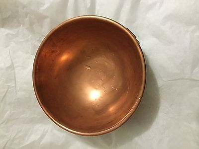 "VINTAGE Solid Copper Heavy Mixing Bowl w/ Brass Ring and Rolled Rim - 8.75"" x 4"""