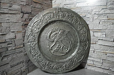 antique French art nouveau pewter platter 1900 dinanderie gothic dragon tray