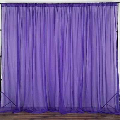 Purple 10x10' Sheer Voile Professional BACKDROP Curtain Photobooth Wedding Party