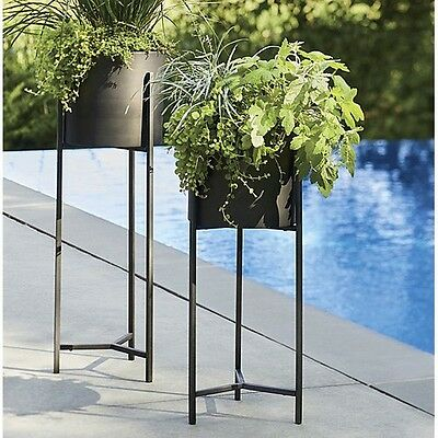 Tall Plant Stand Metal Vintage Planter Iron Holder Wrought Pot Patio Outdoor