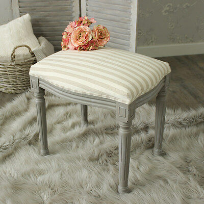 French Grey dressing table stool distressed shabby chic fabric top bedroom home