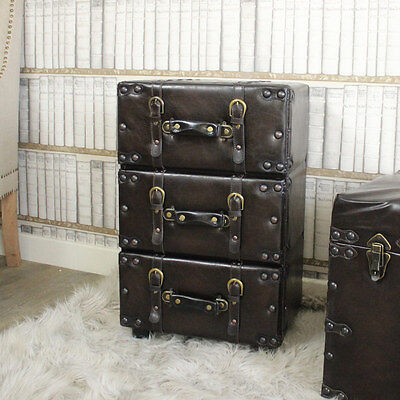 Faux leathr brown 3 drawer chest of drawers shabby country chic bedroom storage