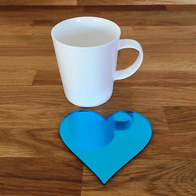 Heart Shaped Coaster Set - Blue Mirror