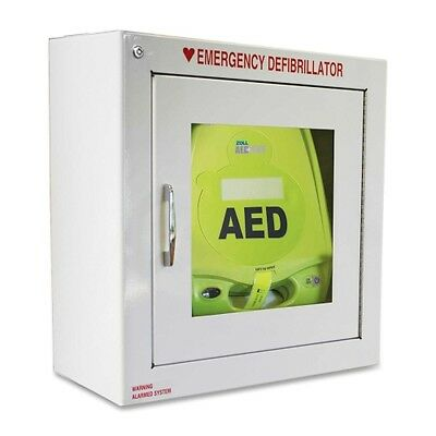Zoll Plus AED Defibrillator+Cabinet!New Pads, Battery, Carrying Case -1 YR WRNTY