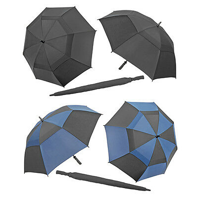 Storm Proof Umbrella Vented Windproof Mens Womens Unisex Large Fishing Black NEW