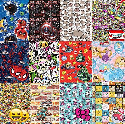 Official Gift Wrap Paper 2 Sheets 2 Tags Wrapping Disney Marvel Mario Pokemon UK