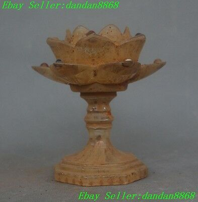 Old chinese glass glaze lotus flower auspicious lucky Candlestick Candle Holder