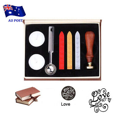 Vintage Seal Sealing Wax Stick Stamp Set For Letters Wedding Party Invitatio  BO