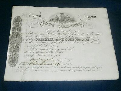 £25 Share Certificate - Oriental Bank Corporation 1851