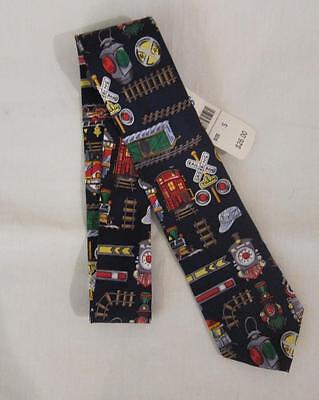 NWT $26 TALBOTS KIDS Multi Color Railroad Train Print 100% Silk Neck Tie