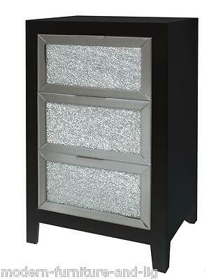 Black Wood Bedside Chest Of Drawers With Mirrored Mosaic Front, Bedside Cabinet