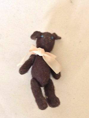 Vintage doll's house miniature brown Teddy Bear -  jointed, bow around neck - J9
