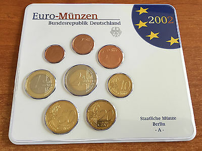 2002 A (Berlin) Germany Deutschland Complete Euro Set 8 Uncirculated Coins Rare