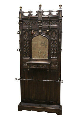 Beautiful & Well Carved Antique French Gothic Hall Rack/Hall Tree, Narrow, 1890s
