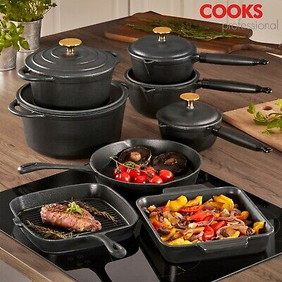 Cooks Professional 8pc Enamel Cast Iron Cookware Set Frying Pan Saucepan Skillet