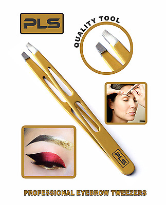 PINCE A ÉPILER - Stainless Steel Tweezer Golden Slanted Tip for Eye Brows