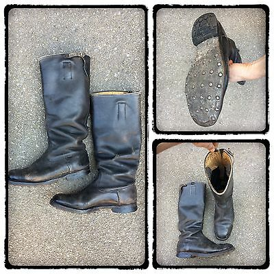 UK 7-8 VINTAGE 1940s GERMAN MILITARY HOBNAIL JACK BOOTS ARMY CAVALRY MOTORCYCLE