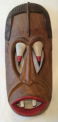 Large Unusual Vintage African ? Crazy Eyes & Fangs Hand Carved Carved Wood Mask