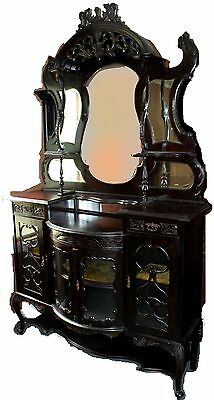 "19th Century Ebonized Victorian Etagere Cabinet with Beveled Mirrors (73"")"