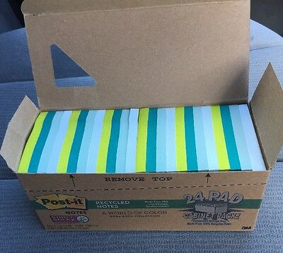 """Post-it Notes Super Sticky 3""""X3"""" Recycled Notes 1,680 Sheets in Bora Bora Colors"""
