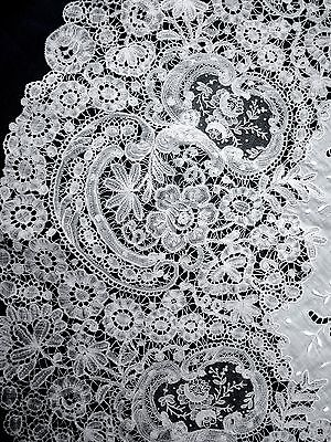 Antique  Belgium Brussels Duchesse Lace tablecloth 37""