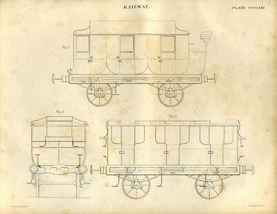 Antique print RAILWAY CARRIAGE DRAWINGS (3) copper plate engraving - 1842
