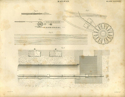 Antique print RAILWAY TRACK DRAWING (1) copper plate engraving - 1842
