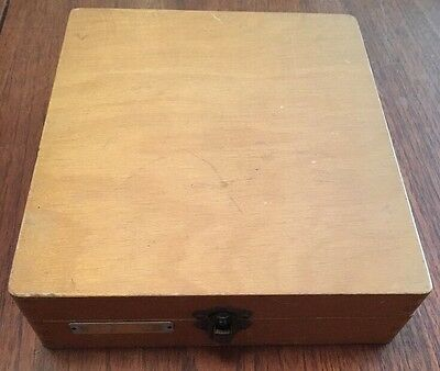 Vintage Amplion 35mm Photo Slide Wooden Storage Box, 105 Slide Capacity
