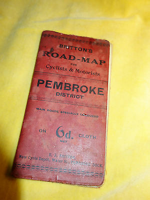 Antique 19th C Cloth Britton's Road Map for Cyclists and Motorist Pembrokeshire