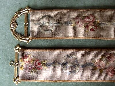 ANTIQUE VICTORIAN- Bell pull- 62inches- embroidered strap and hand cast brass en