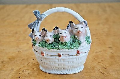 Antique Fairing German 4 Pink Pigs in a Basket of 4 Leaf Clovers