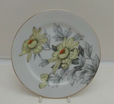 """Fine China of Japan """"MIMOSA"""" Bread Plate Yellow Flowers Gray Leaves"""