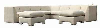 Mid Century Modern Baughman 7 Piece Curved Sectional Sofa w/ 2 Matching Ottomans